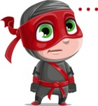 Little Ninja Kid Cartoon Vector Character AKA Shinobi The Curious Boy - Blank
