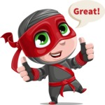 Little Ninja Kid Cartoon Vector Character AKA Shinobi The Curious Boy - Thumbs Up