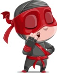 Little Ninja Kid Cartoon Vector Character AKA Shinobi The Curious Boy - Bored 2