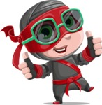 Little Ninja Kid Cartoon Vector Character AKA Shinobi The Curious Boy - Sunglasses