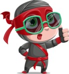 Little Ninja Kid Cartoon Vector Character AKA Shinobi The Curious Boy - Sunglasses 2