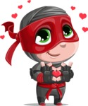 Little Ninja Kid Cartoon Vector Character AKA Shinobi The Curious Boy - Show Love