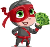 Little Ninja Kid Cartoon Vector Character AKA Shinobi The Curious Boy - Show me the Money