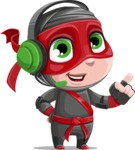 Little Ninja Kid Cartoon Vector Character AKA Shinobi The Curious Boy - Support