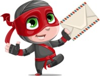 Little Ninja Kid Cartoon Vector Character AKA Shinobi The Curious Boy - Letter