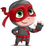 Little Ninja Kid Cartoon Vector Character AKA Shinobi The Curious Boy - Wave