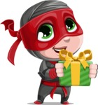 Little Ninja Kid Cartoon Vector Character AKA Shinobi The Curious Boy - Gift