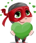 Little Ninja Kid Cartoon Vector Character AKA Shinobi The Curious Boy - Love