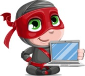 Little Ninja Kid Cartoon Vector Character AKA Shinobi The Curious Boy - Laptop 1