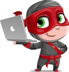 Little Ninja Kid Cartoon Vector Character AKA Shinobi The Curious Boy - Laptop 2
