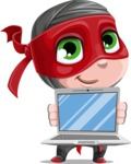 Little Ninja Kid Cartoon Vector Character AKA Shinobi The Curious Boy - Laptop 3