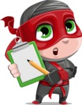Little Ninja Kid Cartoon Vector Character AKA Shinobi The Curious Boy - Note 1
