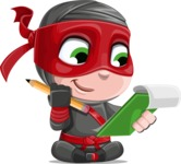 Little Ninja Kid Cartoon Vector Character AKA Shinobi The Curious Boy - Note 2