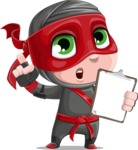 Little Ninja Kid Cartoon Vector Character AKA Shinobi The Curious Boy - Note 3