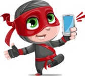 Little Ninja Kid Cartoon Vector Character AKA Shinobi The Curious Boy - Smartphone