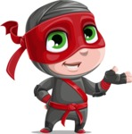 Little Ninja Kid Cartoon Vector Character AKA Shinobi The Curious Boy - Showcase 1