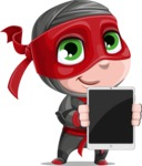 Little Ninja Kid Cartoon Vector Character AKA Shinobi The Curious Boy - Tablet 1