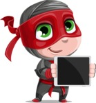 Little Ninja Kid Cartoon Vector Character AKA Shinobi The Curious Boy - Tablet 2