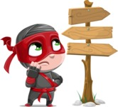 Little Ninja Kid Cartoon Vector Character AKA Shinobi The Curious Boy - Crossroads