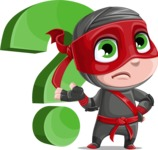Little Ninja Kid Cartoon Vector Character AKA Shinobi The Curious Boy - Question