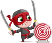 Little Ninja Kid Cartoon Vector Character AKA Shinobi The Curious Boy - Target