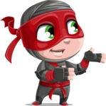 Little Ninja Kid Cartoon Vector Character AKA Shinobi The Curious Boy - Showcase 2