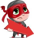 Little Ninja Kid Cartoon Vector Character AKA Shinobi The Curious Boy - Pointer 2