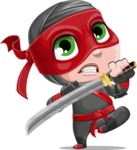 Little Ninja Kid Cartoon Vector Character AKA Shinobi The Curious Boy - Protect
