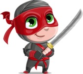 Little Ninja Kid Cartoon Vector Character AKA Shinobi The Curious Boy - Fight