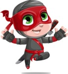 Little Ninja Kid Cartoon Vector Character AKA Shinobi The Curious Boy - Jump