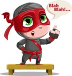 Little Ninja Kid Cartoon Vector Character AKA Shinobi The Curious Boy - Talking