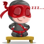 Little Ninja Kid Cartoon Vector Character AKA Shinobi The Curious Boy - Rest