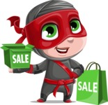 Little Ninja Kid Cartoon Vector Character AKA Shinobi The Curious Boy - Sale 2