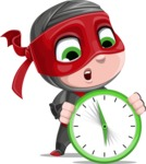 Little Ninja Kid Cartoon Vector Character AKA Shinobi The Curious Boy - Time is running out