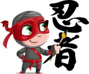 Little Ninja Kid Cartoon Vector Character AKA Shinobi The Curious Boy - Creativity