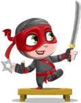 Little Ninja Kid Cartoon Vector Character AKA Shinobi The Curious Boy - Training