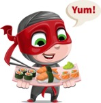 Little Ninja Kid Cartoon Vector Character AKA Shinobi The Curious Boy - Food 2