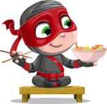 Little Ninja Kid Cartoon Vector Character AKA Shinobi The Curious Boy - Food 3