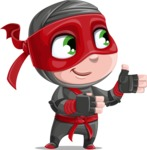 Little Ninja Kid Cartoon Vector Character AKA Shinobi The Curious Boy - Show 2