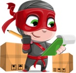 Little Ninja Kid Cartoon Vector Character AKA Shinobi The Curious Boy - Delivery 2