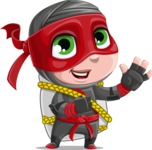 Little Ninja Kid Cartoon Vector Character AKA Shinobi The Curious Boy - Travel