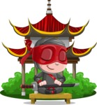 Little Ninja Kid Cartoon Vector Character AKA Shinobi The Curious Boy - Temple