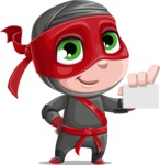 Little Ninja Kid Cartoon Vector Character AKA Shinobi The Curious Boy - Sign 1