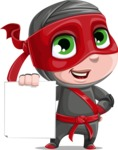 Little Ninja Kid Cartoon Vector Character AKA Shinobi The Curious Boy - Sign 2
