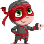 Little Ninja Kid Cartoon Vector Character AKA Shinobi The Curious Boy - Point 1