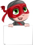 Little Ninja Kid Cartoon Vector Character AKA Shinobi The Curious Boy - Sign 4