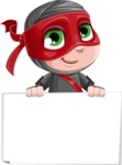 Little Ninja Kid Cartoon Vector Character AKA Shinobi The Curious Boy - Sign 6