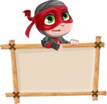 Little Ninja Kid Cartoon Vector Character AKA Shinobi The Curious Boy - Presentation 3