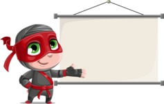 Little Ninja Kid Cartoon Vector Character AKA Shinobi The Curious Boy - Presentation 6