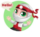 White Ninja with Business Clothes Vector Character Design AKA Yoshiro - Shape 1